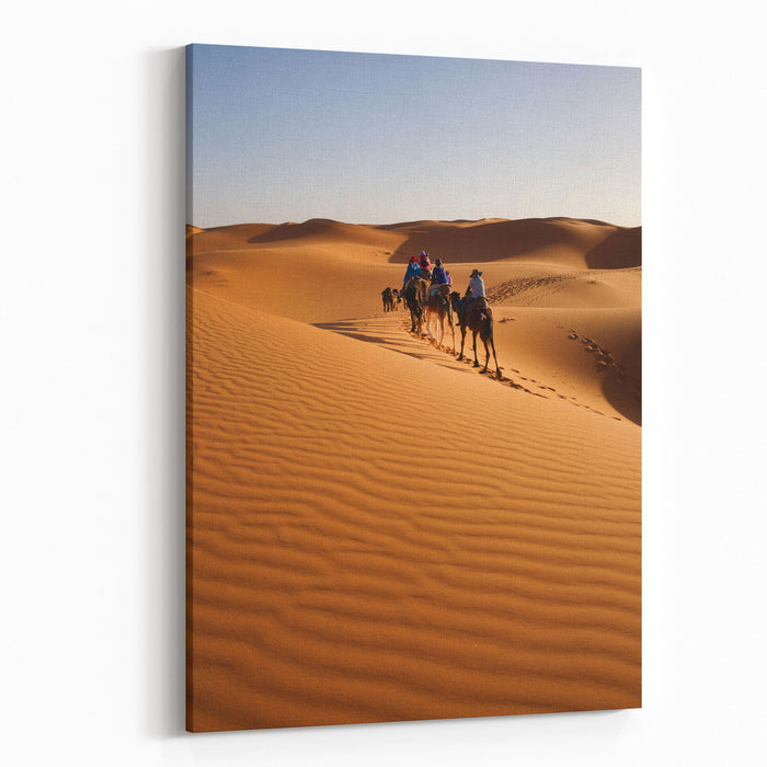Caravan Going Through The Sand Dunes In The Sahara Desert, Morocco Canvas Wall Art Print