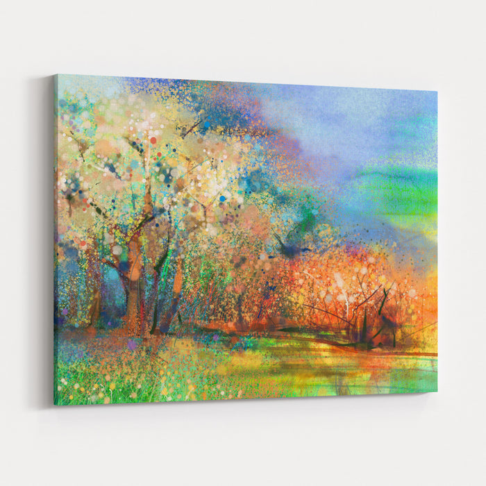 Abstract Colorful Landscape Painting Oil Painting Mix Watercolor Technique On Paper Semi Abstract Image Of Tree And Field In Yellow And Red With Blue Sky Spring Season Nature Background Canvas Wall Art Print
