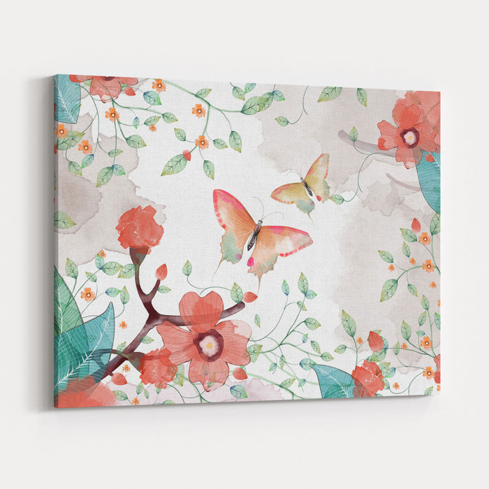 Creative Illustration And Innovative Art Butterfly, Flower And Leaves Realistic Fantastic Cartoon Style Artwork Scene, Wallpaper, Story Background, Card Design Canvas Wall Art Print