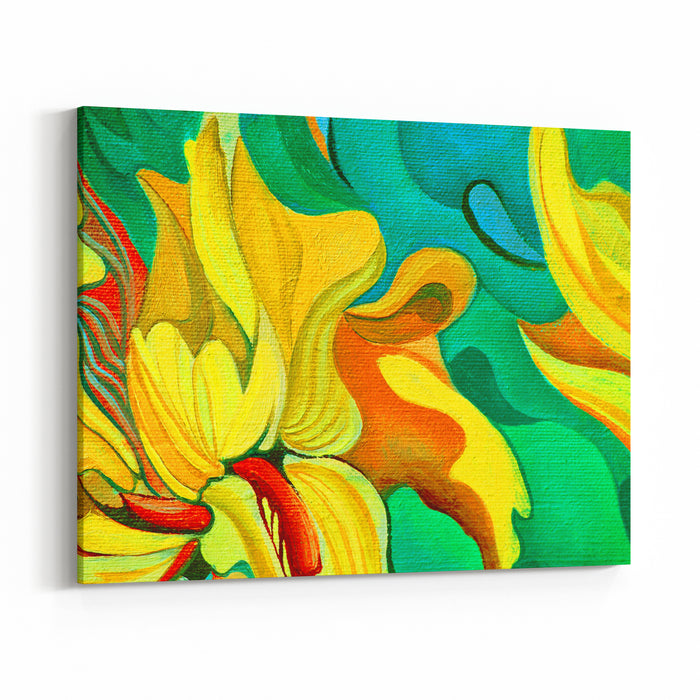 Flower Painting By Oil On Canvas, Illustration Canvas Wall Art Print