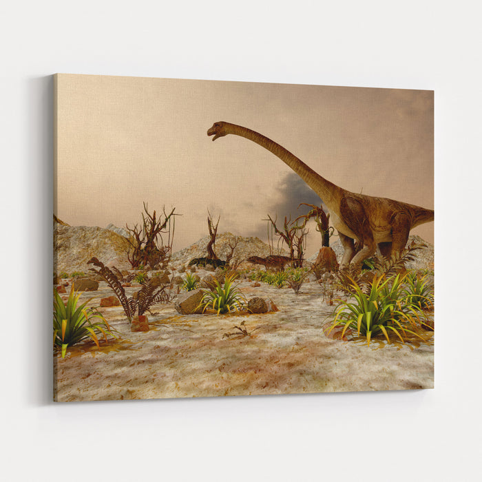 Dinosaur Prehistoric Jungle, Landscape, Valley With Dinosaurs Canvas Wall Art Print