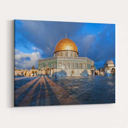 Morning Ray Shines On Dome Of The Rock In Jerusalem, Palestine Canvas Wall Art Print