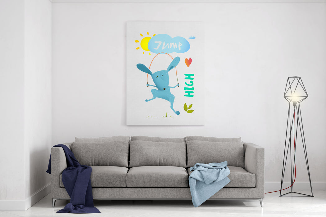 Rabbit Jumping Rope For Kids Hare Jumping High Skipping Animal Cartoon Watercolor Style, Vector Illustration Canvas Wall Art Print
