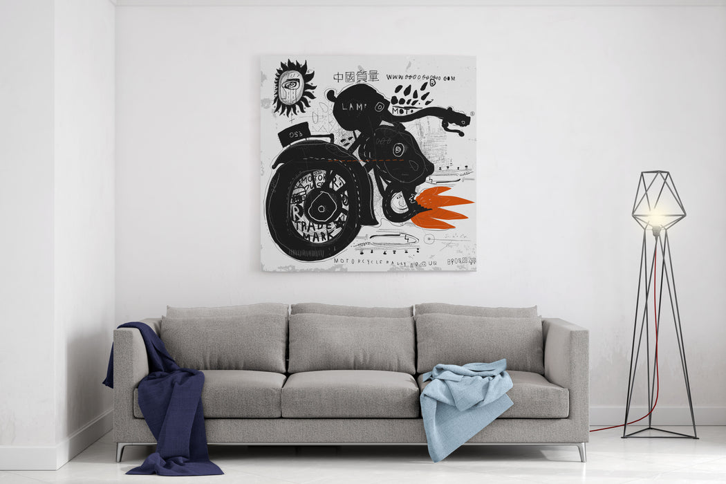 Image Of Motorcycle, Which Is Made In The Style Of Graffiti Translation From Chinese  Chinese Quality Canvas Wall Art Print
