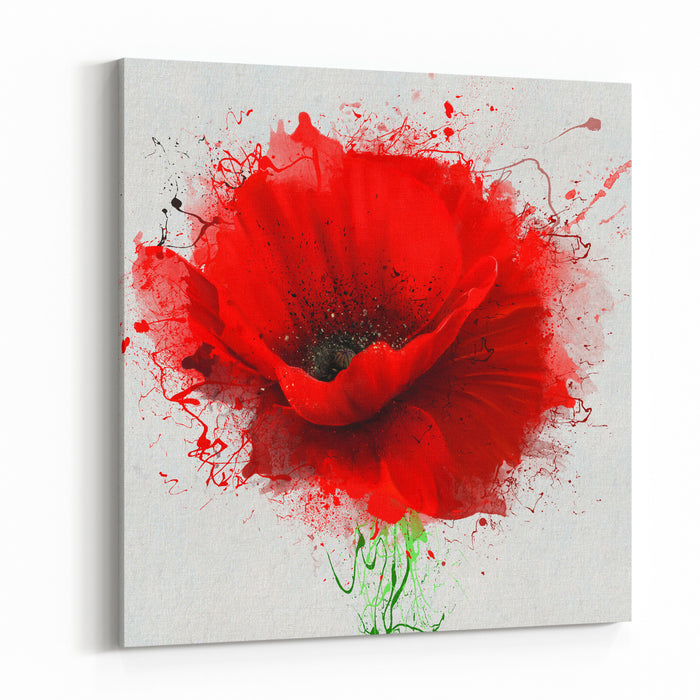 Beautiful Red Poppy, Closeup On A White Background, With Elements Of The Sketch And Spray Paint, As Illustration For The Cover Of A Notebook Or Notepad, Or Print For Garment Canvas Wall Art Print