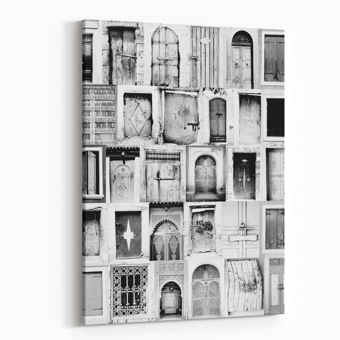 2cad484b6b50 Black And White Poster From Old Moroccan Doorways Canvas Wall Art Print