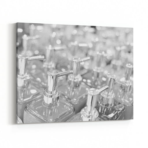Black And White Photography Of Bottles In Row, Close Up Canvas Wall Art Print