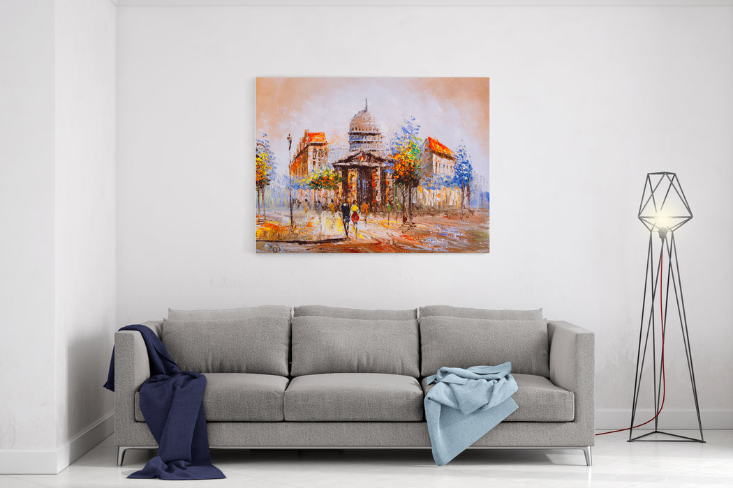 Oil Painting  Street View Of Paris Canvas Wall Art Print
