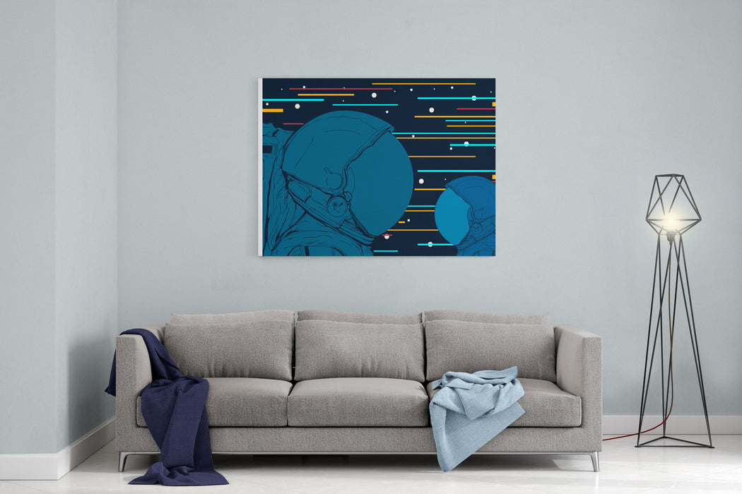 Astronauts In Space Vector Illustration Canvas Wall Art Print