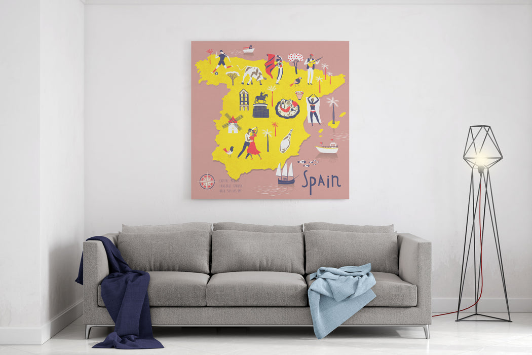 Cartoon Map Of Spain With Legend Icons Canvas Wall Art Print