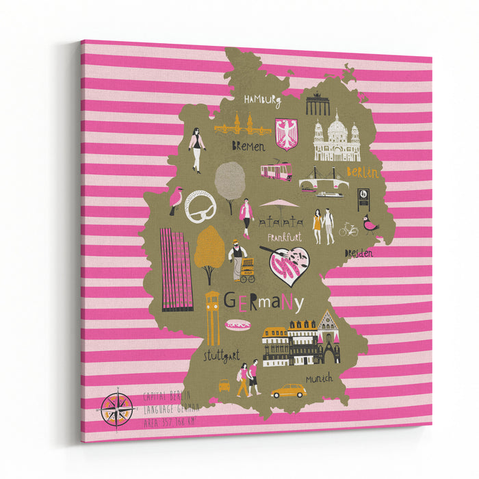 Cartoon Map Of Germany With Legend Icons Canvas Wall Art Print