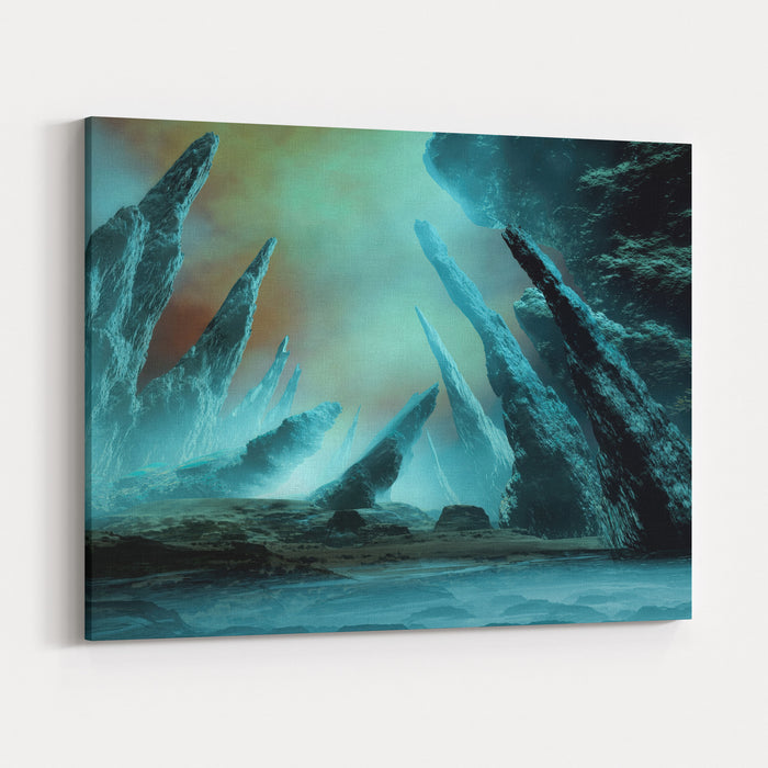 D Illustration Of Landscape With Fancy Concept Which Is Observed Several Jagged Rocks In A Very Cloudy Atmosphere Canvas Wall Art Print