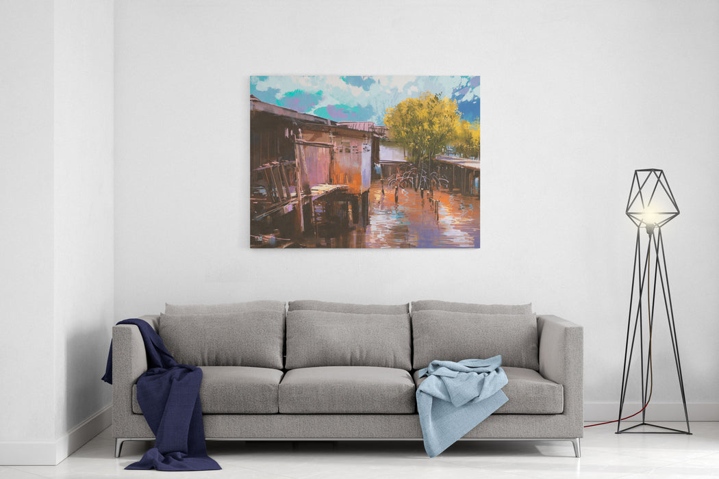 Old Fishing Village,oil Painting Style,illustration Canvas Wall Art Print