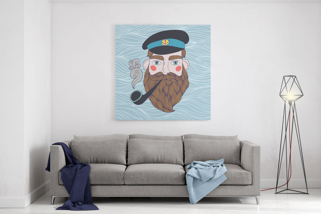 Captain With Pipe Vector Illustration Canvas Wall Art Print