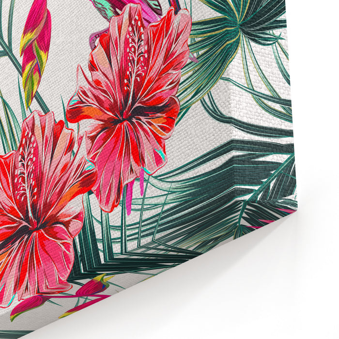 Parrots, Tropical Flowers, Palm Leaves, Hibiscus, Bird Of Paradise Flower, Jungle, Beautiful Seamless Vector Floral Summer Pattern Background Canvas Wall Art Print
