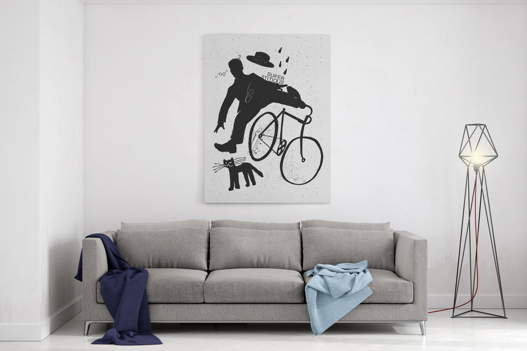 Image Of A Cyclist Who Was Scared Of A Black Cat Translated From Chinese  Stop Prejudices Canvas Wall Art Print