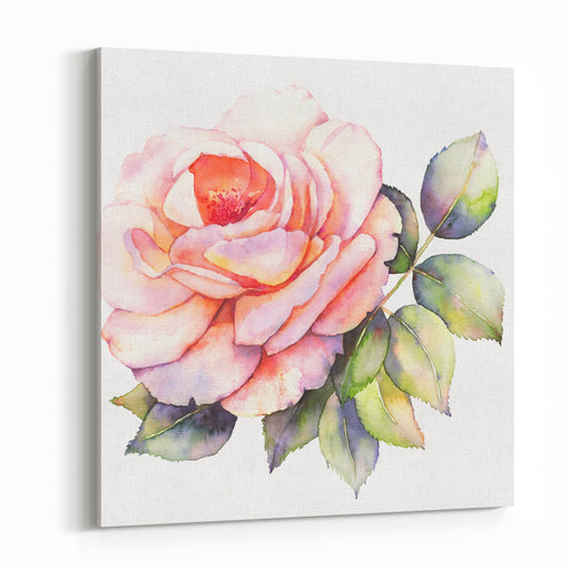 Rose Flower Watercolor Illustration Canvas Wall Art Print