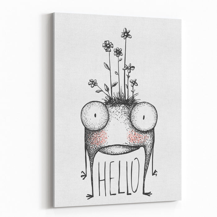 Strange Hand Drawn Monster With Flowers Greeting Card Mutant Cartoon Creature, Character Funny Comic Design, Vector Illustration Canvas Wall Art Print