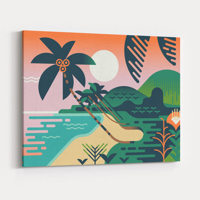 Cool Vector Summer Vacation Exotic Travel Destination Background Paradise Palm Tree Island Sand Shore Illustration In Flat Design Geometric Stylized Tropical Landscape Abstract Jungle And Sea Shore Canvas Wall Art Print