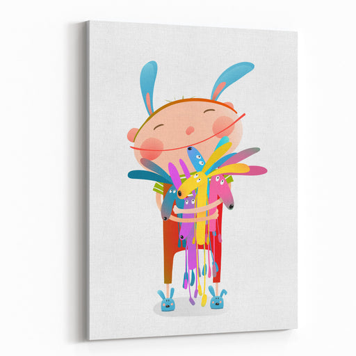Little Kid Hugging Rabbits Funny Cute Toys Little Girl Or Boy Hugging Bunnies Happy Child In Bunny Costume, Vector Illustration Canvas Wall Art Print