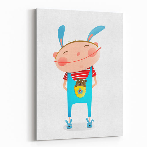 Little Boy With Bear Cub Funny Cute Toy In Pocket Small Kid With Toy Happy Child Smiling Wearing Bunny Costume Vector Illustration Canvas Wall Art Print