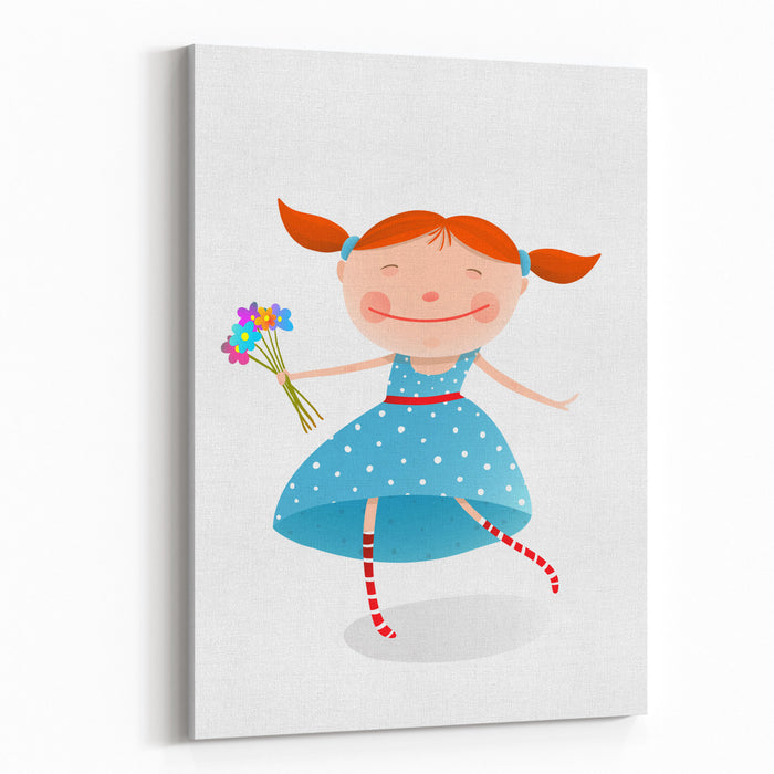 Small Girl With Bouquet Of Flowers Wearing Blue Dress Jolly Child With A Bunch Of Flowers Organic Nature Plant, Smiling Kid Face, Vector Illustration Canvas Wall Art Print