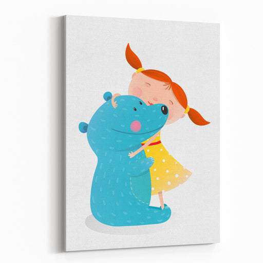 Girl Hugging Toy Cute Bear Little Girl Embracing Bear Child With Toy Teddy, Cheerful And Smile Kid Vector Illustration Canvas Wall Art Print