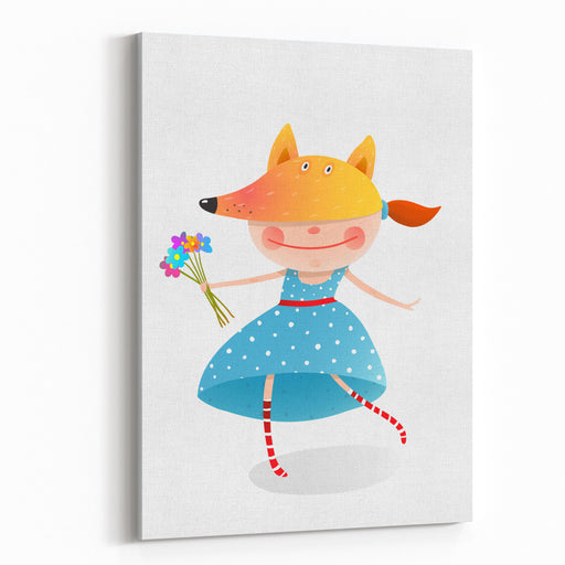 Girl In A Mask Fox With Bouquet Of Flowers Kid In Fox Costume  Childhood And Handsome Character Person, Vector Illustration Canvas Wall Art Print
