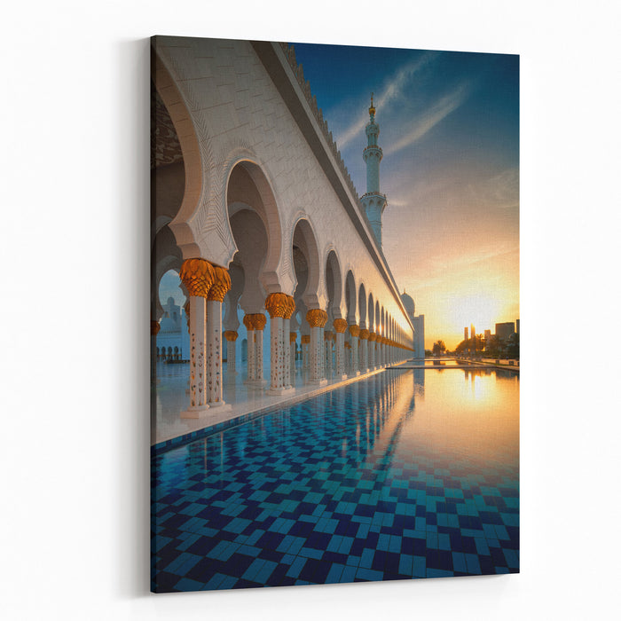 Amazing Sunset View At Mosque, Abu Dhabi, United Arab Emirates Canvas Wall Art Print
