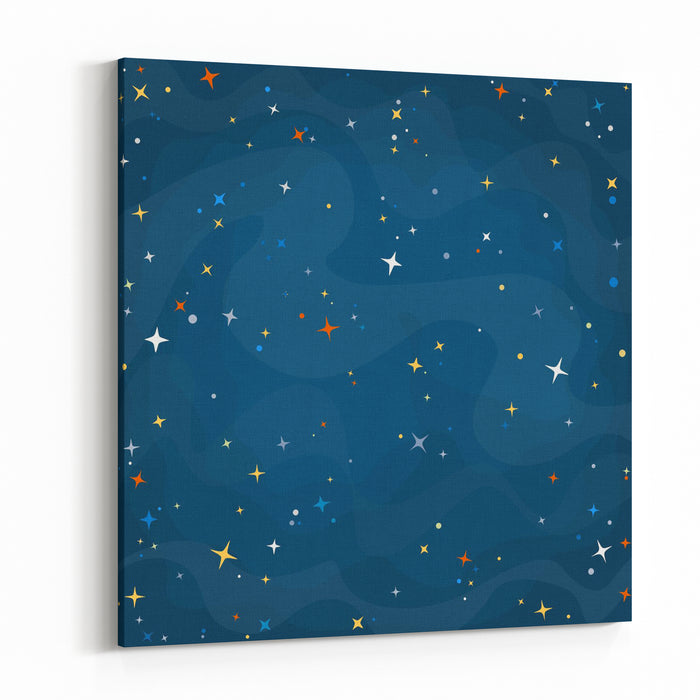 Cartoon Space Background With Colorful Stars Night Starry Sky Vector Illustration Canvas Wall Art Print