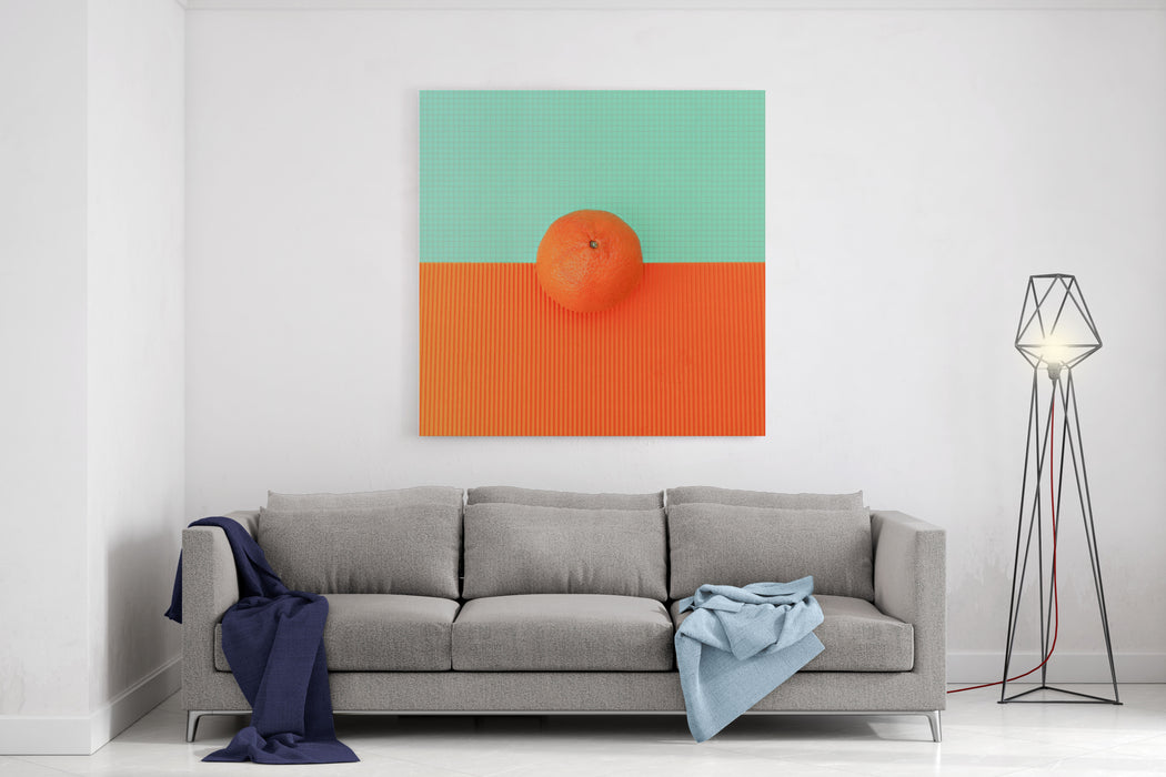 Orange On Bright Background Minimalism Fashion Canvas Wall Art Print