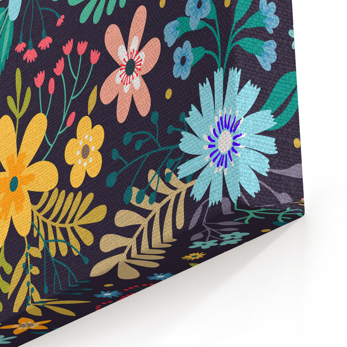 Amazing Floral Pattern With Bright Colorful Flowers, Plants, Branches And Berries On A Black Background The Elegant The Template For Fashion Prints Canvas Wall Art Print