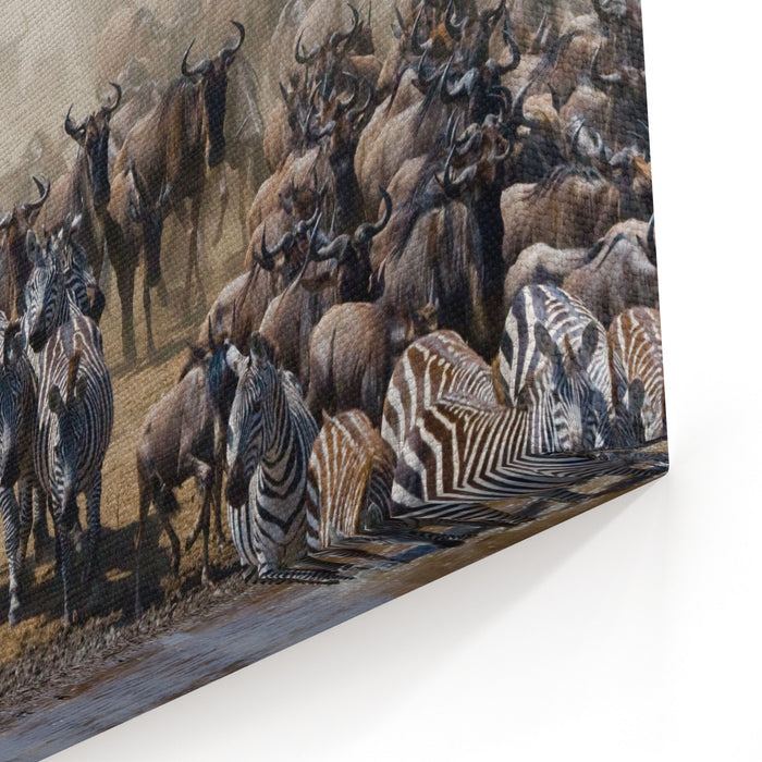 Big Herd Of Wildebeest Is About Mara River Great Migration Kenya Tanzania Masai Mara National Park An Excellent Illustration Canvas Wall Art Print