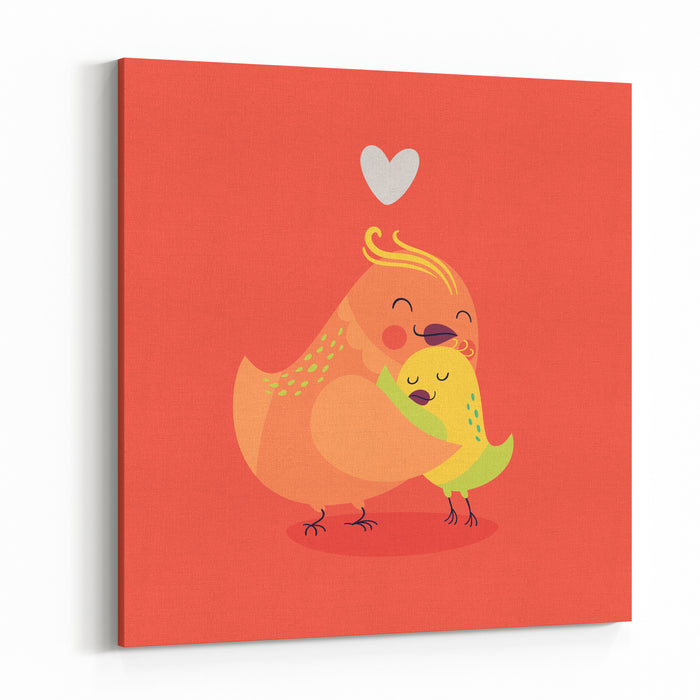Cute Vector Cartoon Decorative Birds Mom And Child Characters Hugging Each Other Smiling Parents Love, Family Care Simple Illustration Ideal For Greeting Card Or Invitation Flyer Design Canvas Wall Art Print