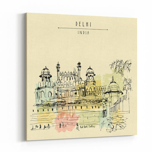 Red Fort In Delhi, India Vintage Hand Drawn Postcard Template Vector Illustration Canvas Wall Art Print