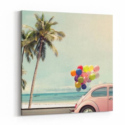 Vintage Card Of Car With Colorful Balloon On Beach Blue Sky Concept Of Love In Summer And Wedding Honeymoon Canvas Wall Art Print