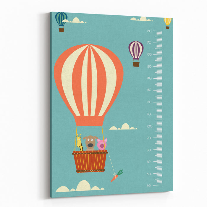 Balloon Cartoons ,Meter Wall Or Height Meter From  To  Centimeter,Vector Illustrations Canvas Wall Art Print