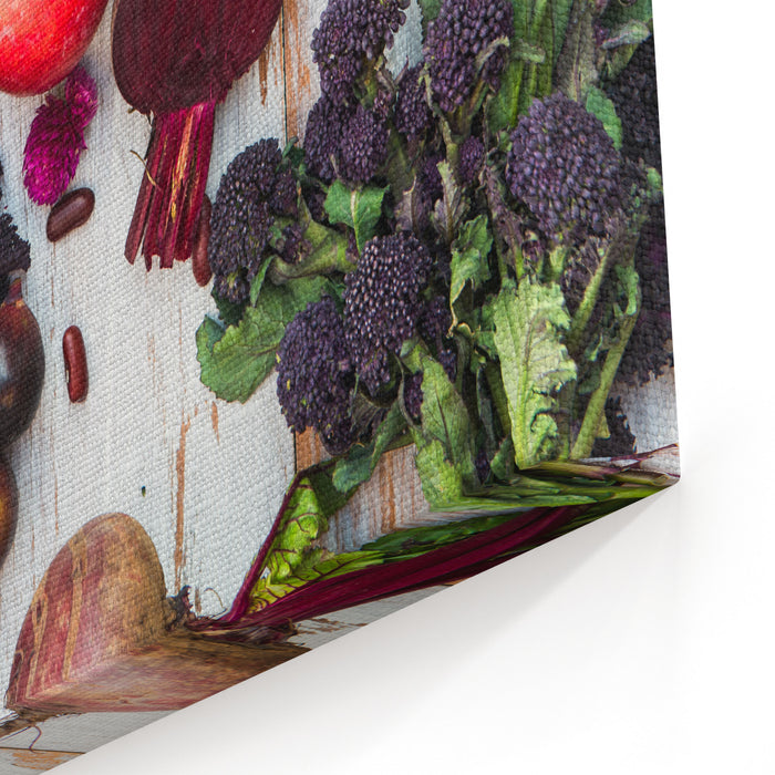 Collection Of Fresh Purple Fruits And Vegetables Such As Plums, Beetroots, Onions, Aubergine, Lettuce, Cabbage, Beans, Figs, Grapes On The White Background With Top View Canvas Wall Art Print