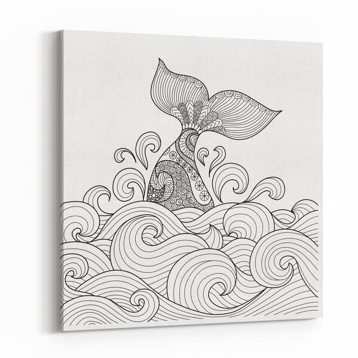 Whale Tail In The Wavy Ocean Lines Art For Adult Coloring Book,sign, Logo, Tshirt, Card And Design Elelment Canvas Wall Art Print
