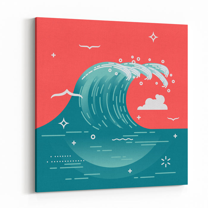 Lovely Vector Background On Large Ocean Breaking Wave Sea Water Backgroundin Flat Design With Abstract Wave And Seagulls Storm Wave Surf Wavebreaking