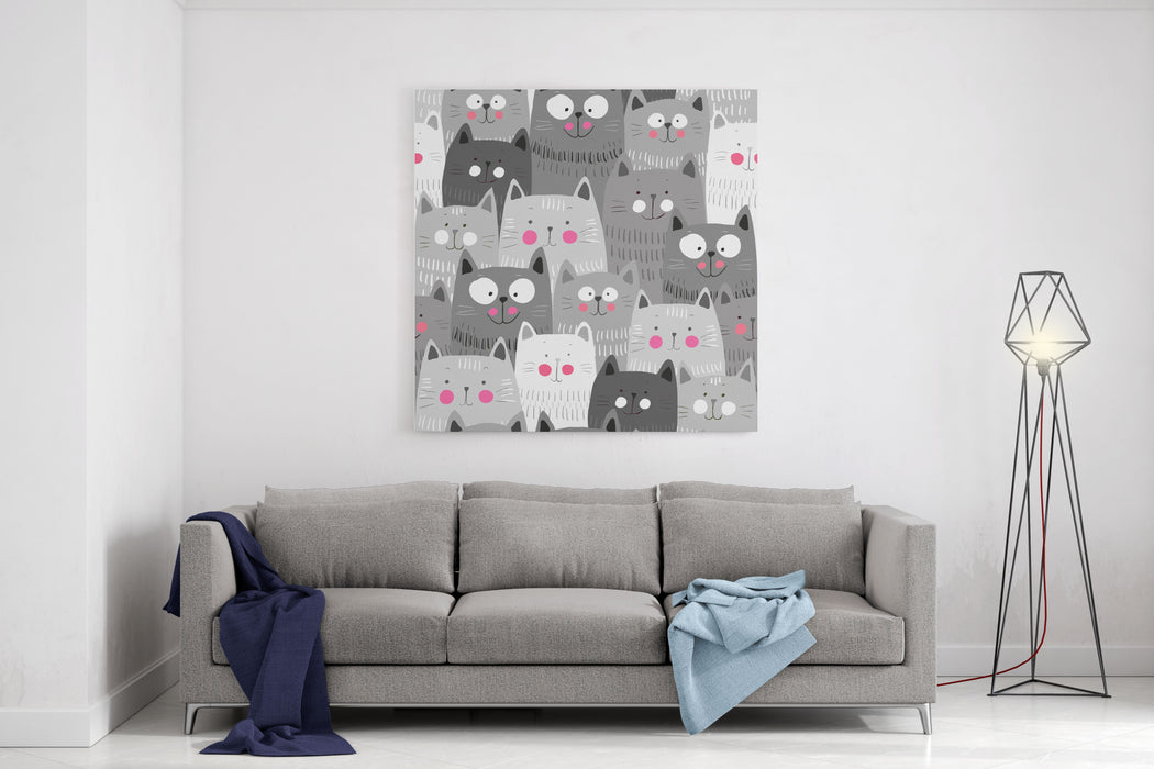 Cute Cats Colorful Seamless Pattern Background Canvas Wall Art Print
