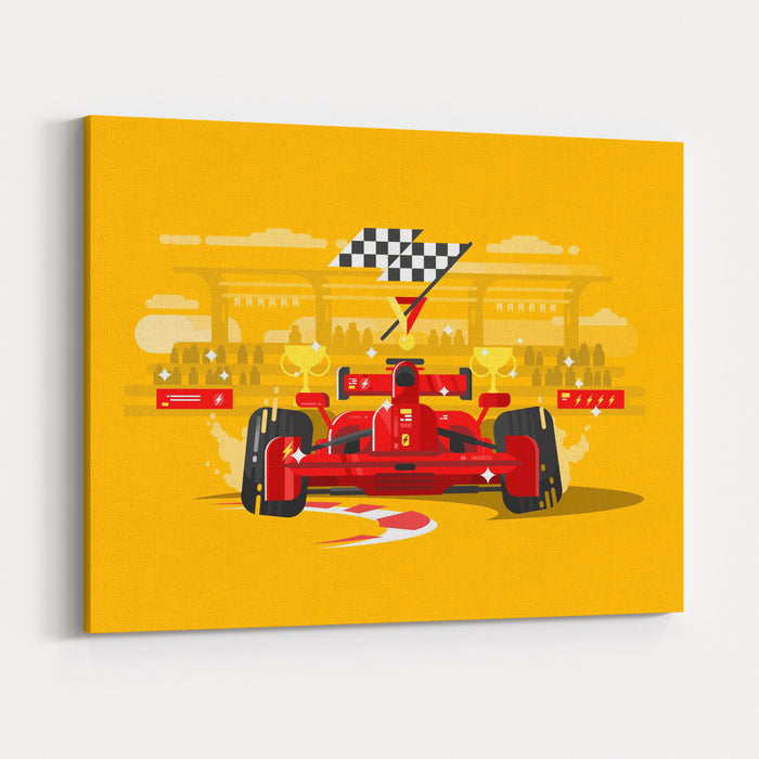 Sport Car In Race Canvas Wall Art Print