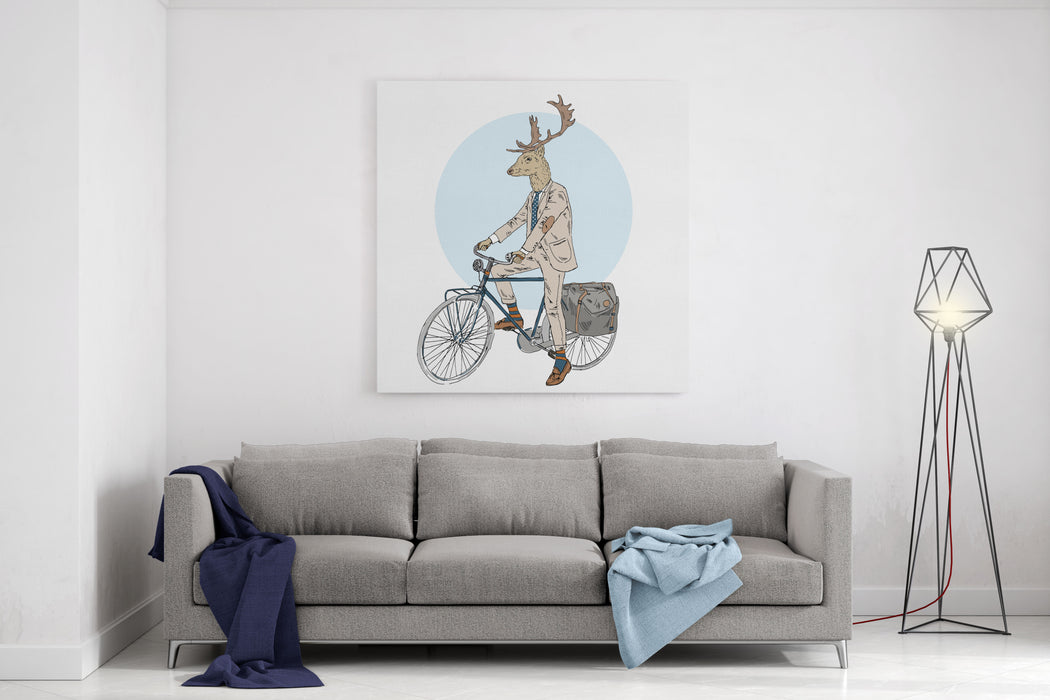 Cool Dressed Deer On Bicycle, Furry Art, Fashion Animals, Hipster Animals Canvas Wall Art Print