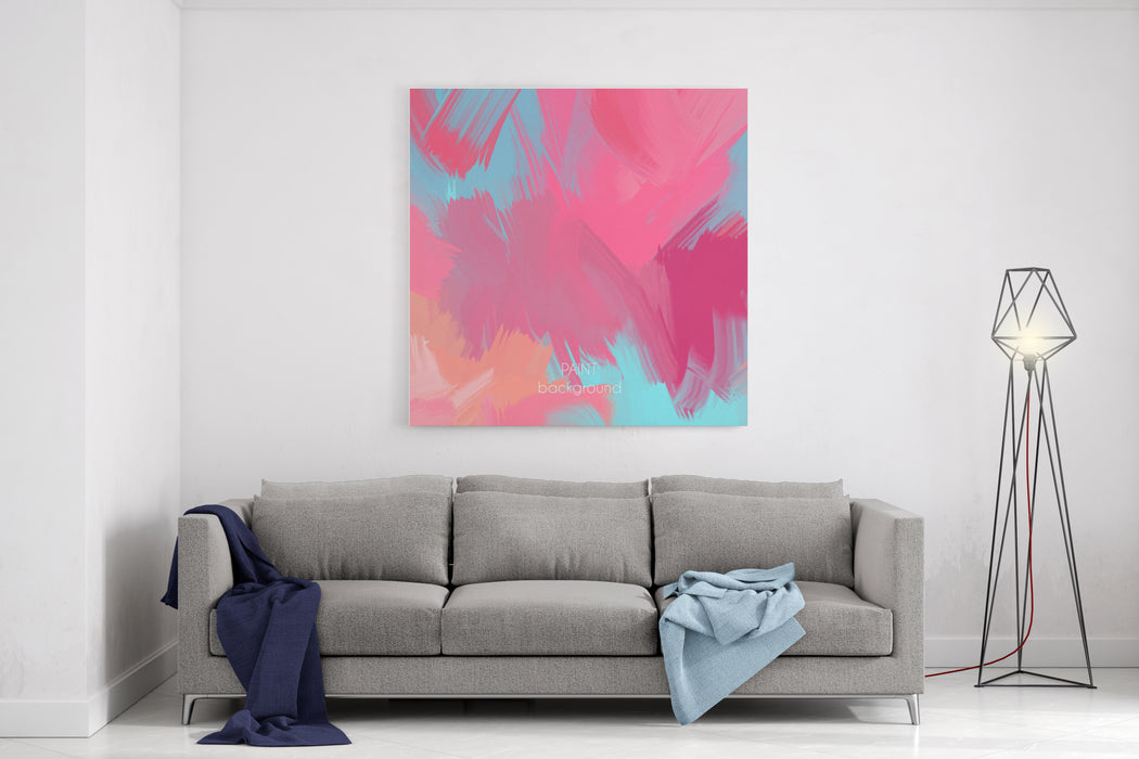Abstract Oil Painting Texture Hand Drawn Paint Brushes Background Pastel Color Palette Canvas Wall Art Print