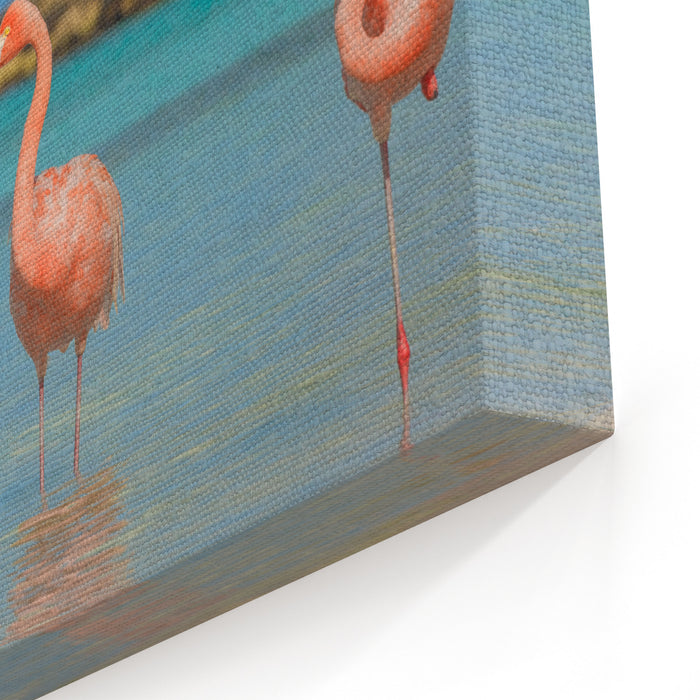 Two Flamingos On The Beach Canvas Wall Art Print