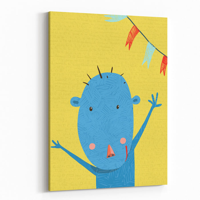 Greeting Card With Cute Monkey Character Cartoon Monkey Holiday Or Birthday Design For Kids Cartoon Ape Wild Cheerful Child Raster Variant Canvas Wall Art Print