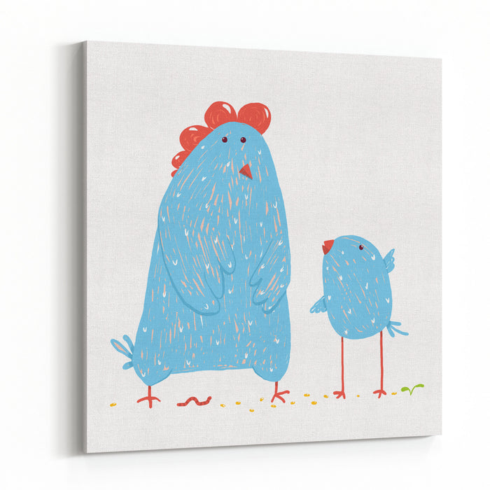 Hen And Chicken Childish Cartoon Poultry Animal Farm, Livestock Domestic, Nature Rural Raster Variant Canvas Wall Art Print