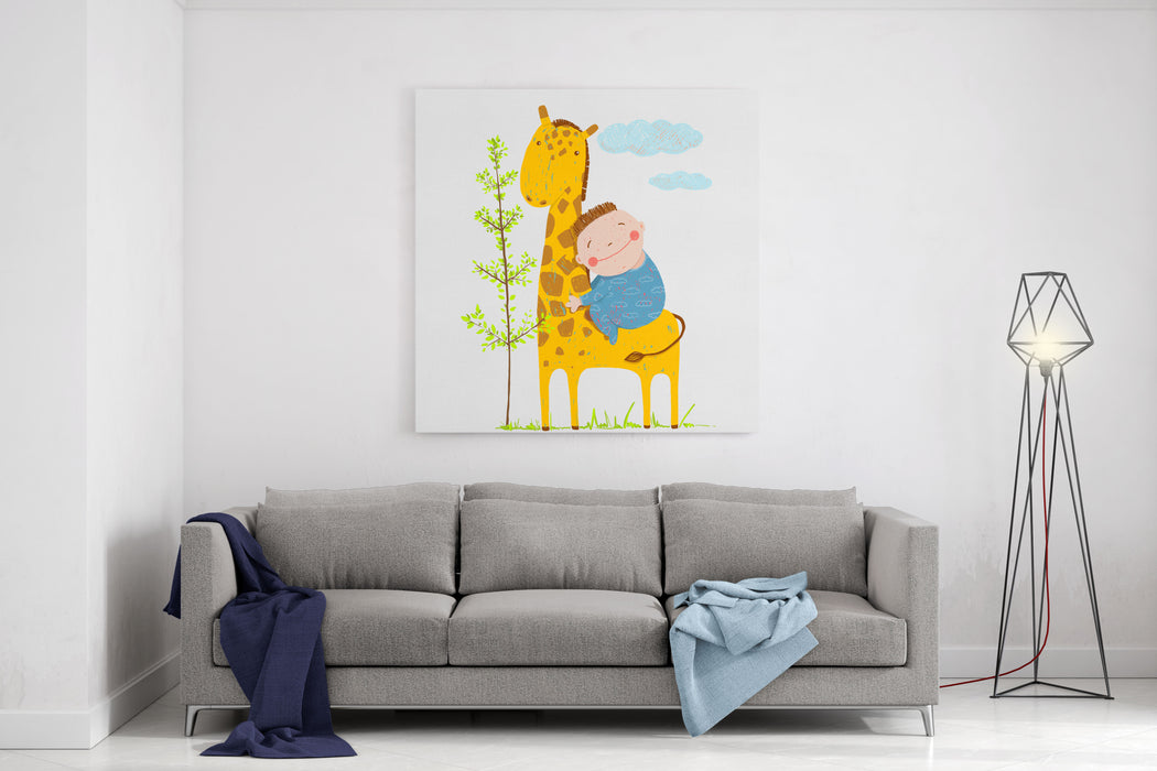 Little Boy Hugging A Giraffe Happy Friend, Child And Animal Raster Variant Canvas Wall Art Print