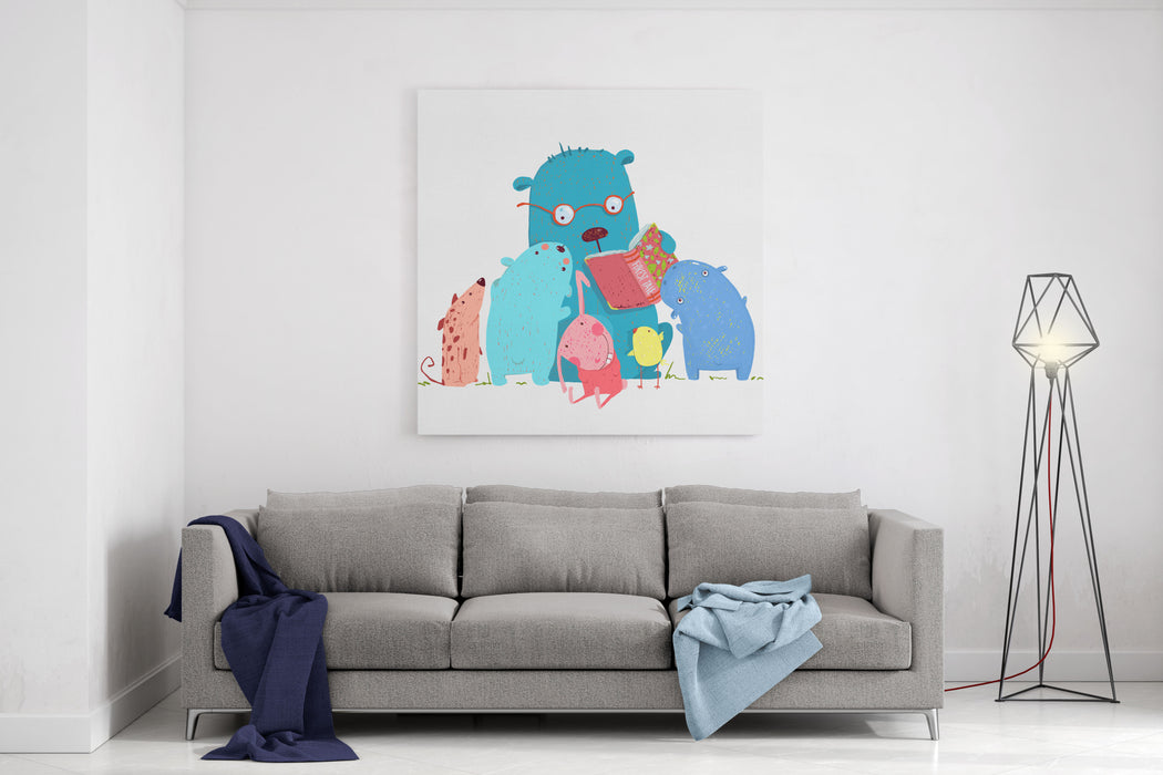 Bear Reading Book For Group Of Animal Kids Children Education And Reading Child Learning, Teacher Reading Literature Knowledge, School Wisdom Raster Variant Canvas Wall Art Print