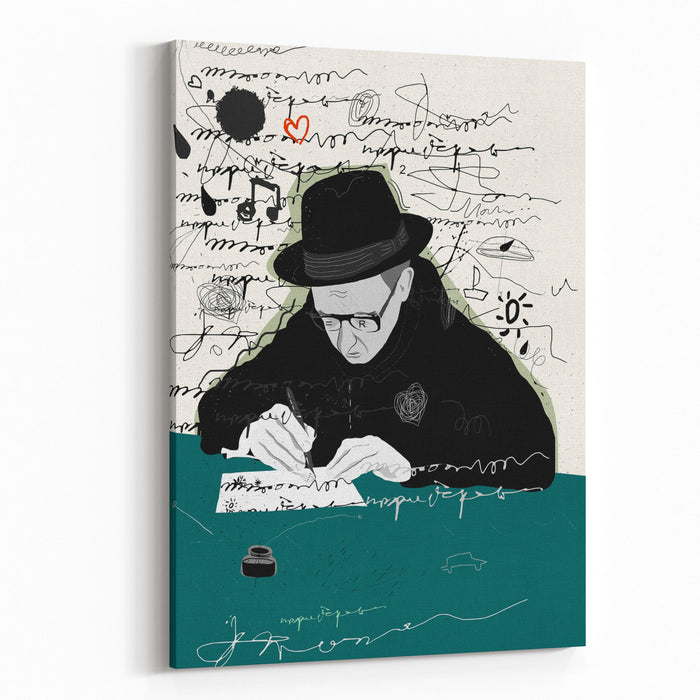 Symbolic Image Of A Man Who Writes A Letter With Pen And Ink Canvas Wall Art Print
